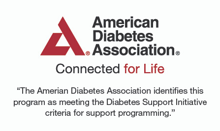 "American Diabetes Association logo: ""The American Diabetes Association identifies this program as meeting the Diabetes Support Initiative criteria for support programming"""