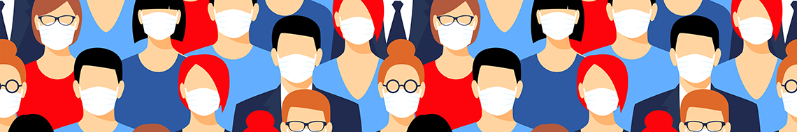 Graphic of people wearing face masks