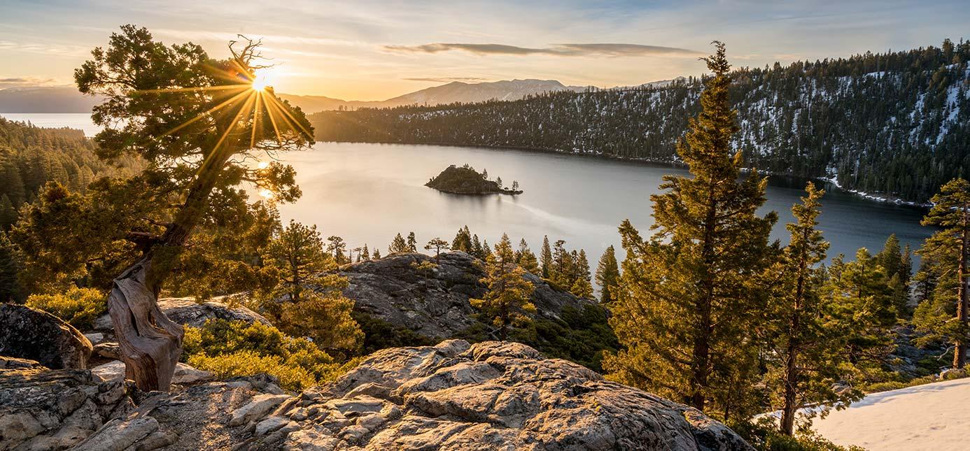 emerald bay at sunrise over lake tahoe