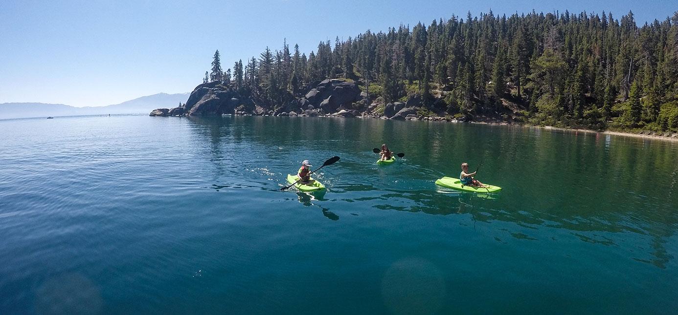 Children kayaking on Lake Tahoe