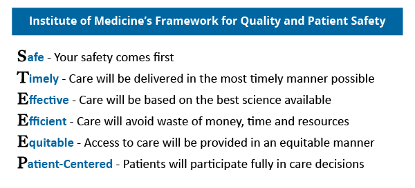 Institute of Medicine's Framework for Quality and Patient Safety