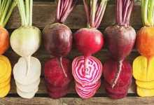 lined beets in variety of colors