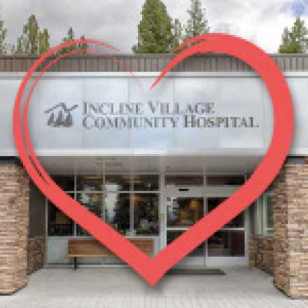 Front of Incline Village Community Hospital with heart graphic overlay