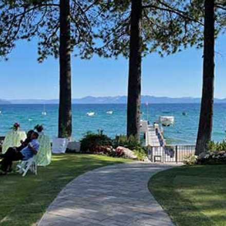 Party on the lawn at Lake Tahoe