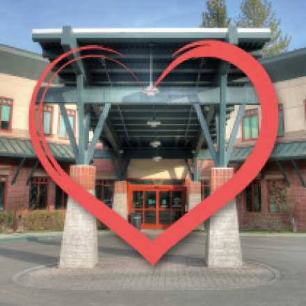 Front of Tahoe Forest Hospital with heart graphic overlay