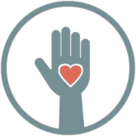 hand raising with heart icon