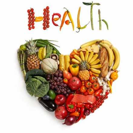 Graphic with heart and vegetables with the word Health