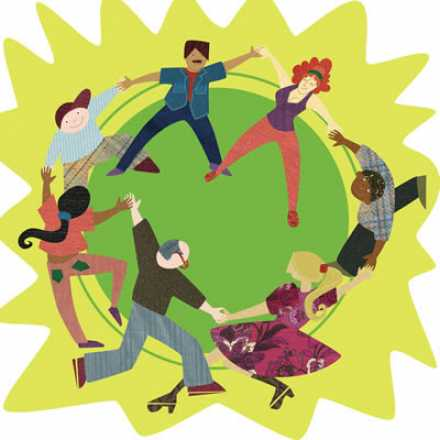Illustrated people dancing on green circle