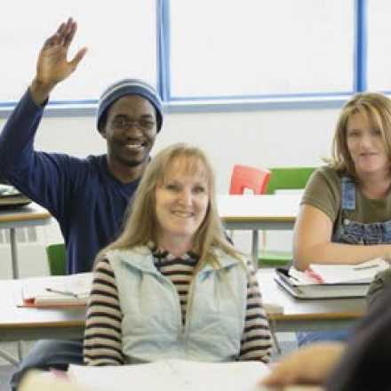 Adult students in a classroom setting