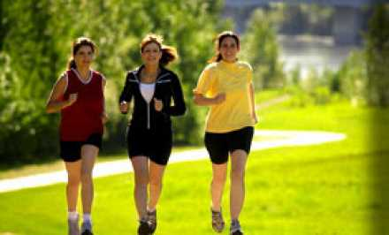 Women out for a run in the park