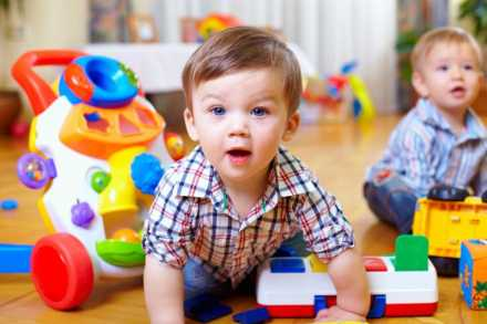 Baby playing in child care setting