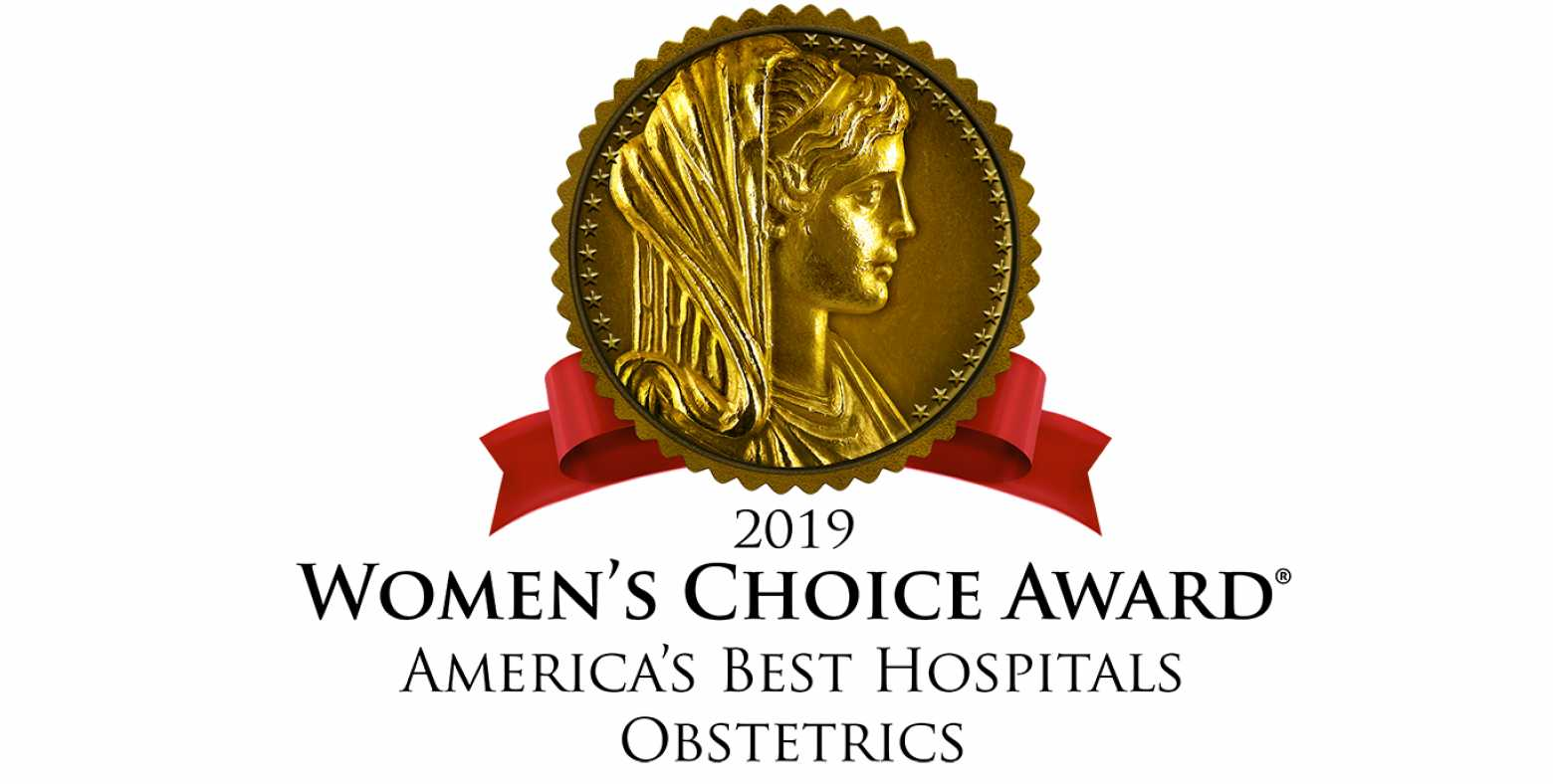 2019 Women's Choice Award America's Best Hospitals for Obstetrics designation seal