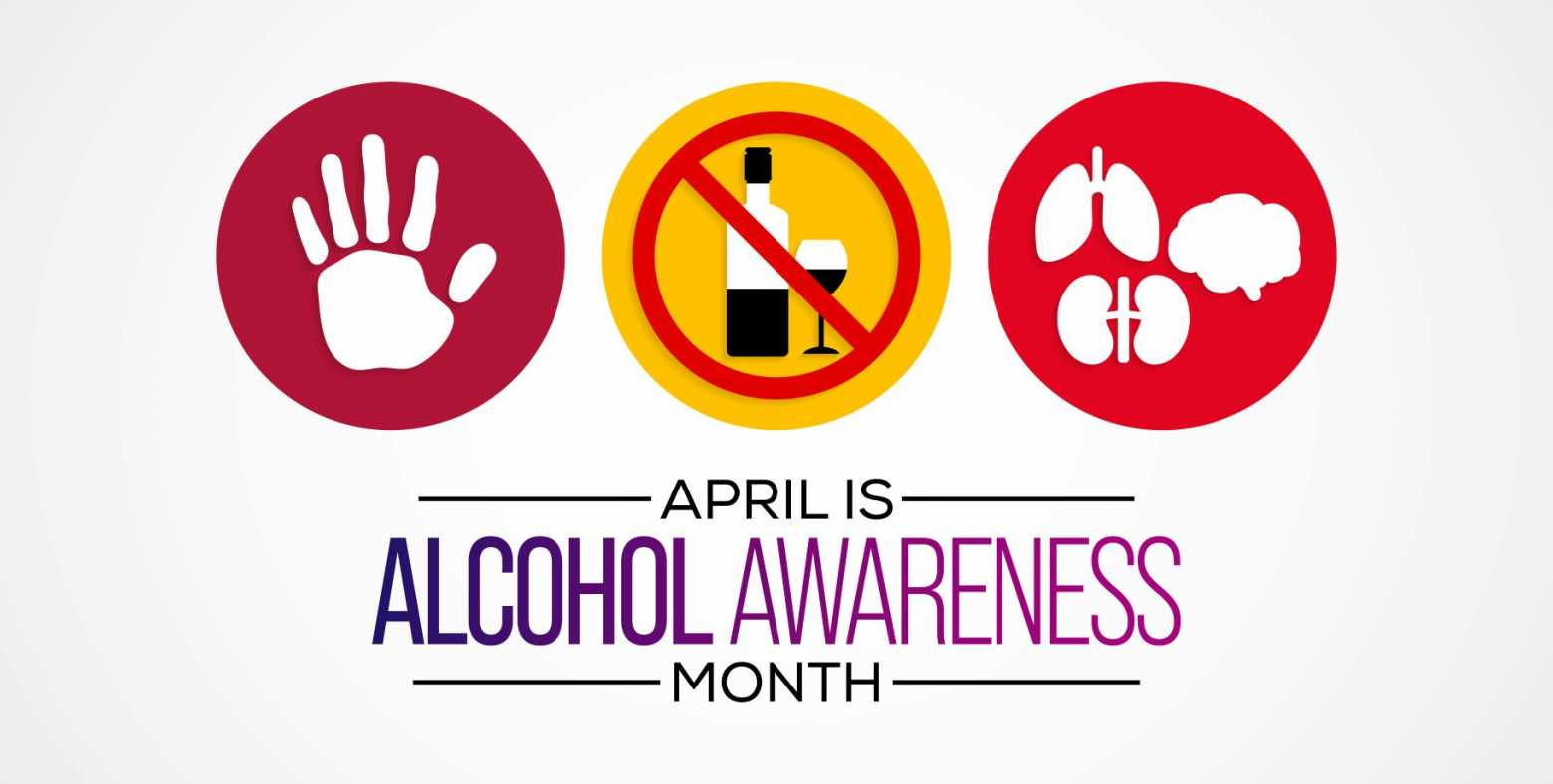 Alcohol Awareness Month with images of hand, no alcohol and organs