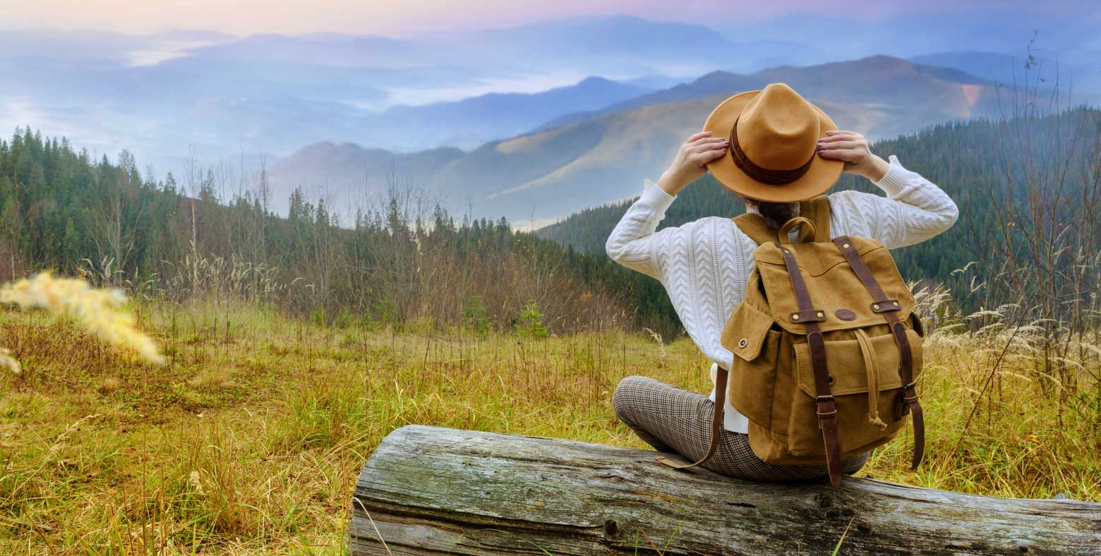 female sitting on log gazing at mountain range