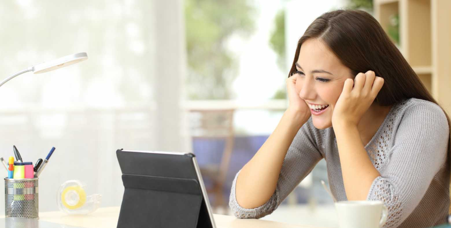 smiling woman on video chat