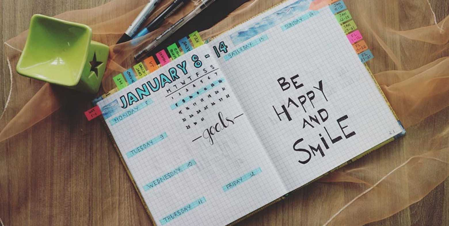 """Journal entry that says """"Be happy and smile"""""""