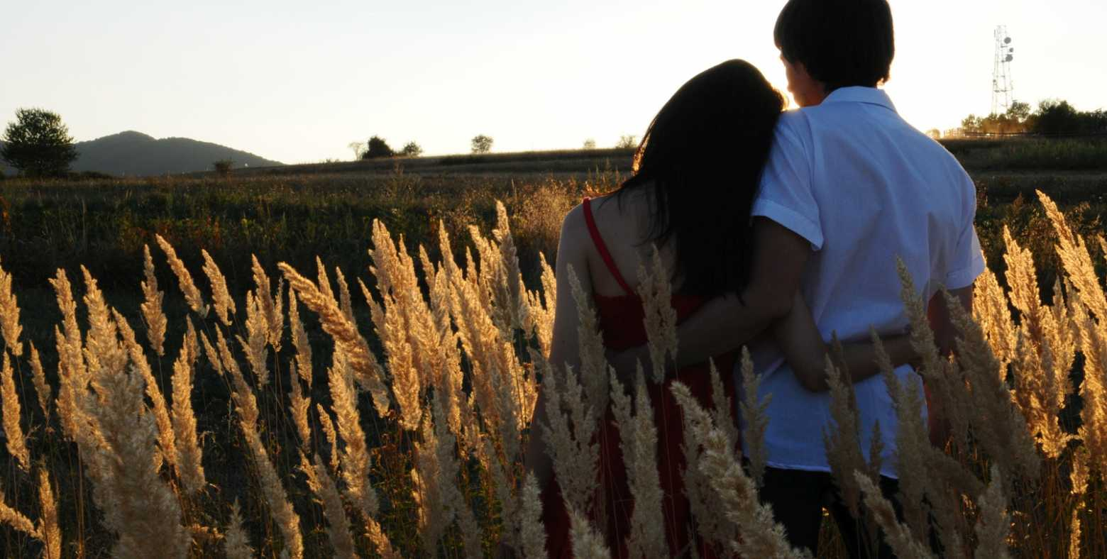 Young couple hugging in meadow