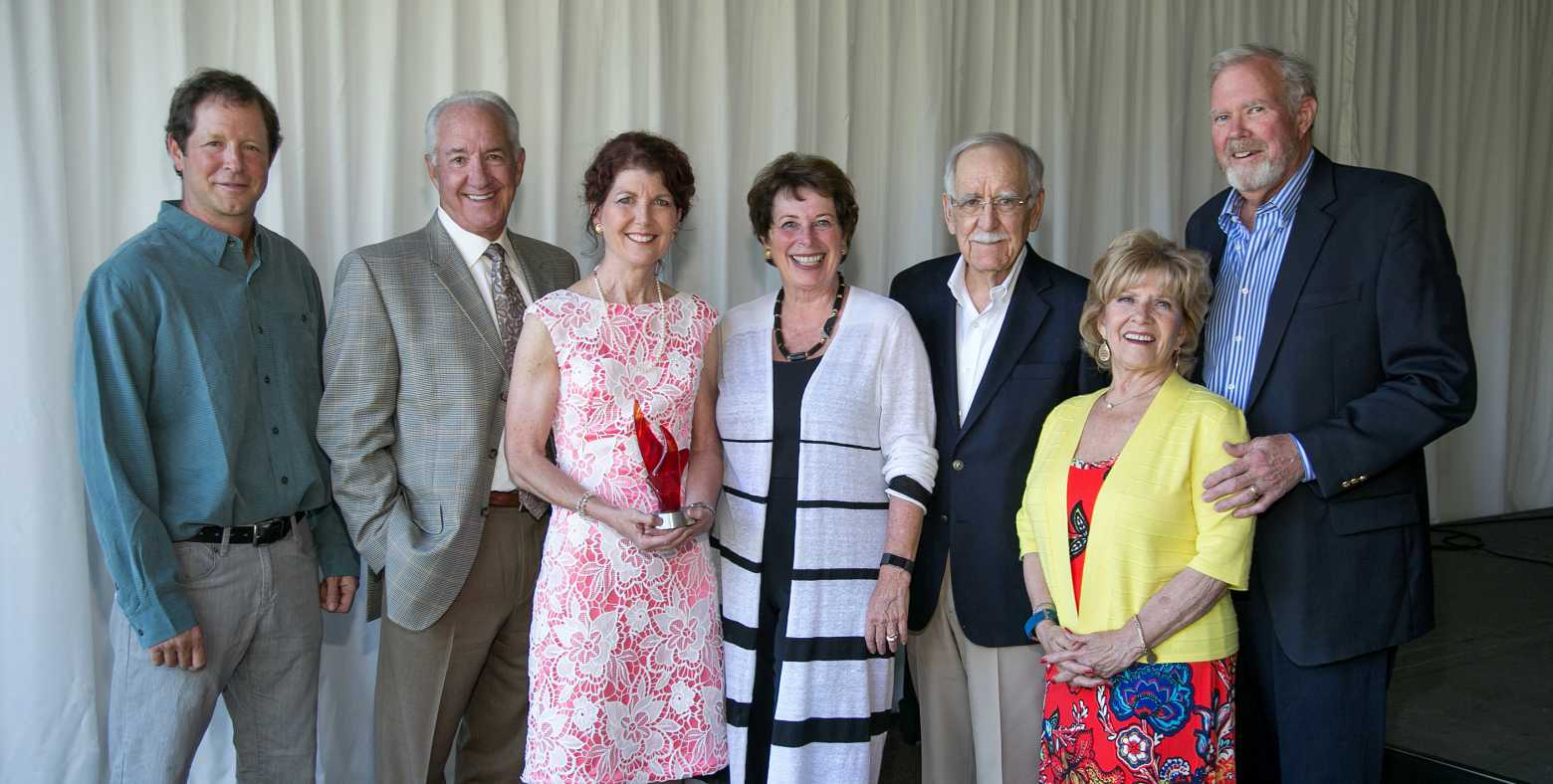 Karen Sessler with past Spirit of Giving Award recipients: Billy McCullough, Randy Hill, Pam Hobday, Patti Boxeth, Gary Boxeth