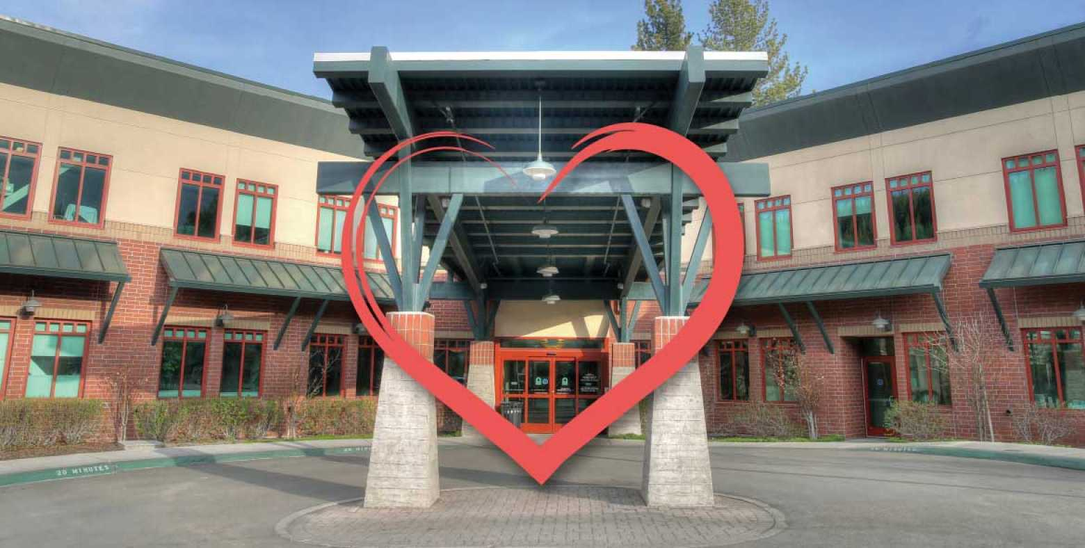 Entrance to Tahoe Forest Hospital with heart graphic overlay