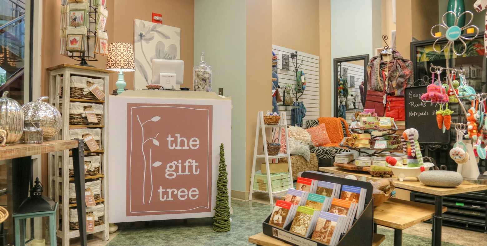 bright interior of gift shop with numerous interesting items