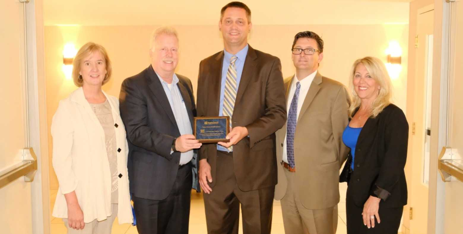 Receiving the Hospital Council of Northern & Central California: 2016 Innovation Challenge Award, Judy Newland, TFHS Chief Operating Officer; Harry Weis, TFHS CEO; Brian Jenson, Hospital Council of Northern & Central California Regional VP; Jake Dorst, TFHS Chief Information and Innovation Officer; Karen Baffone, TFHS Chief Nursing Officer/Director of Population Health