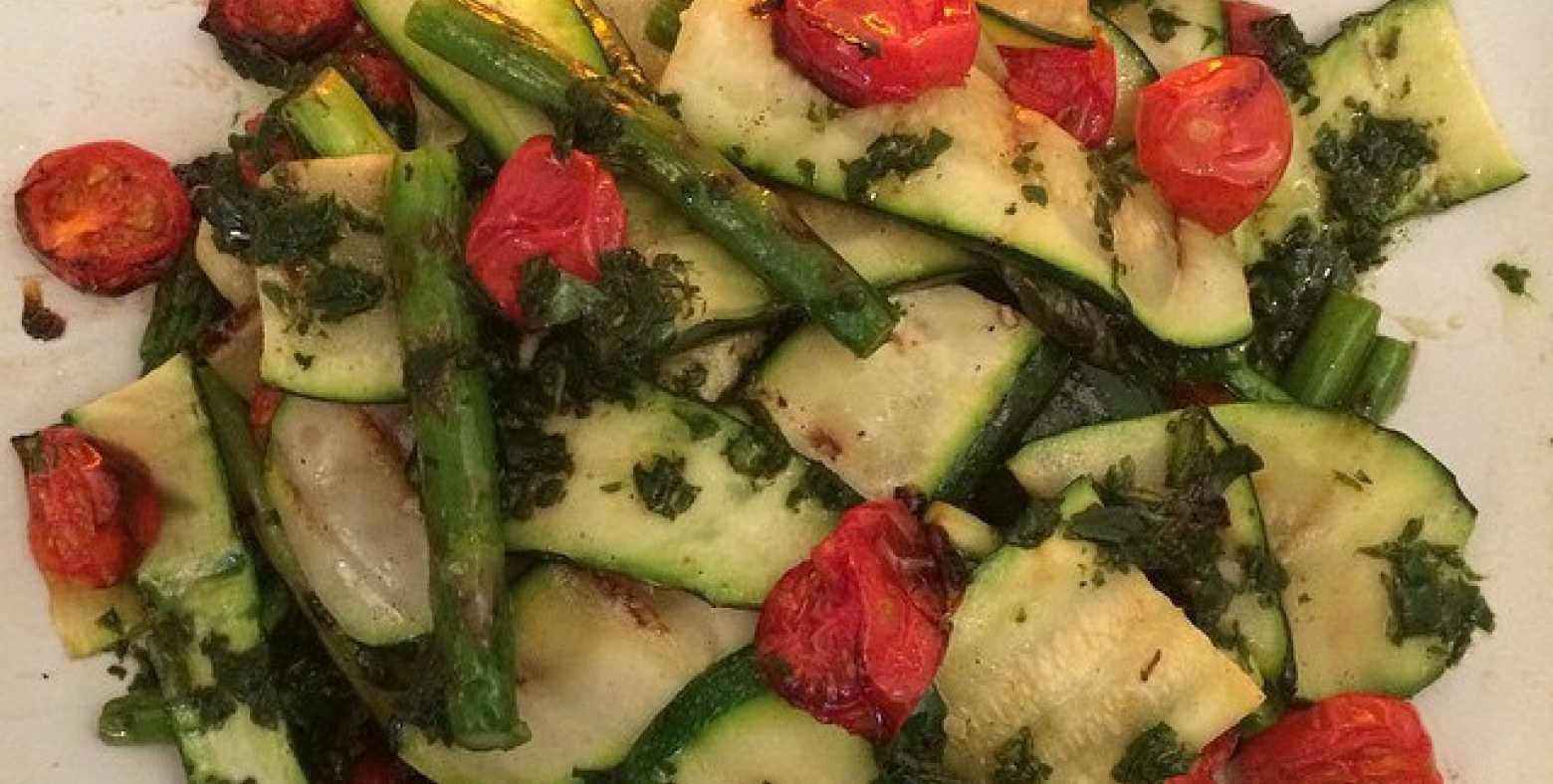 Zucchini, Asparagus, Grape Tomato Salad
