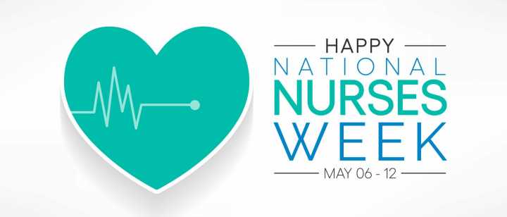 National Nurses Week with green heart and heartbeat