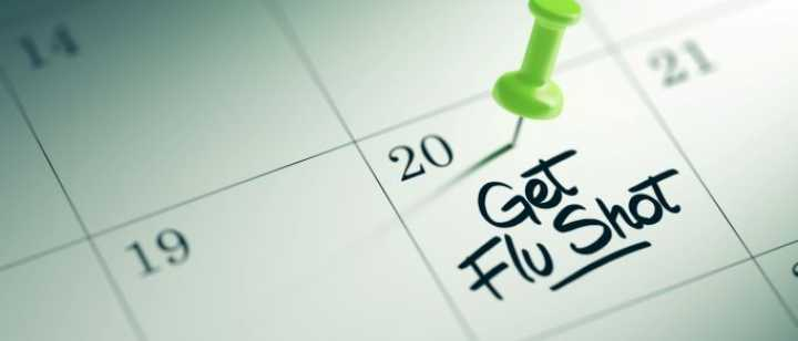 Calendar with flu shot note