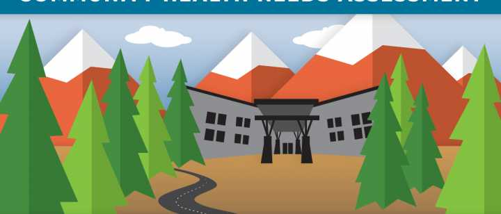 entrance of hospital and pine trees in cartoon graphic format