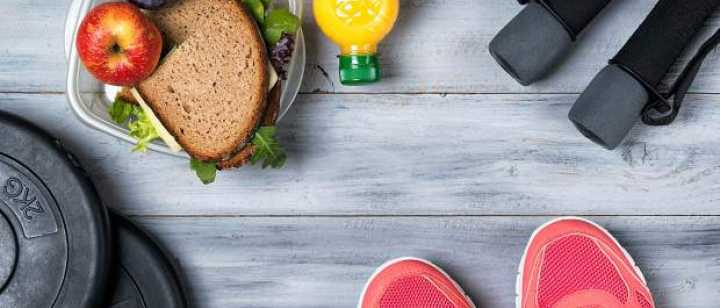 Sneakers, healthy snacks, and workout equipment