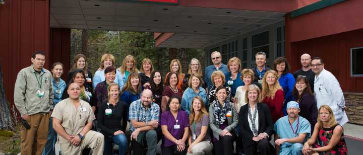 Incline Village Community Hospital staff in front of hospital