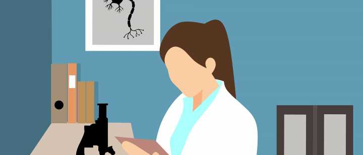 Illustration of a doctor looking at a lab result