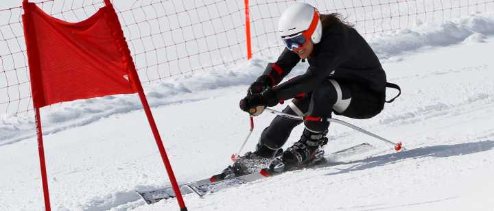 young skier in race