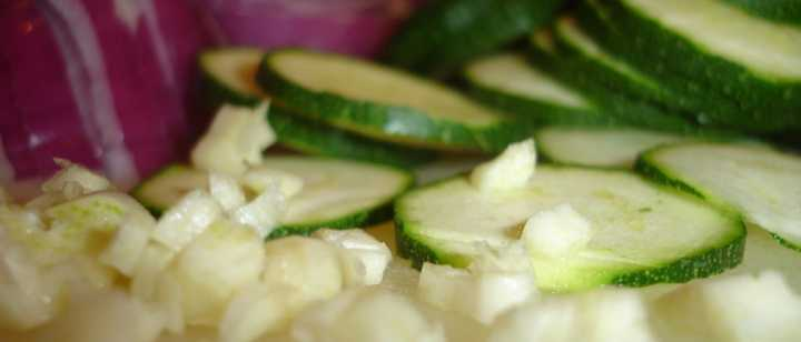 sliced cucumbers and chopped onions