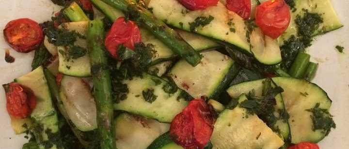 Zucchini, Aparagus, Grape Tomato Salad